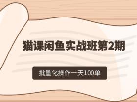 剑眉大侠:猫课闲鱼实战班第2期 批量化操作一天100单,一个月赚几万