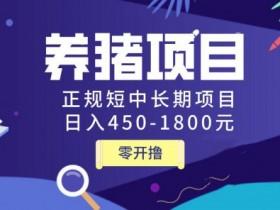 独家揭秘价值998养猪项目,正规短中长期项目,日入450-1800元(全套课程)
