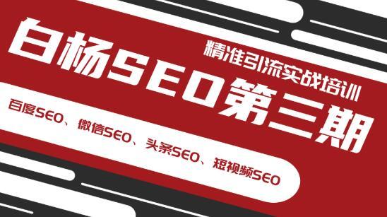 白杨SEO三期精准排水训练(百度SEO、微信SEO、标题SEO、短视频SEO)