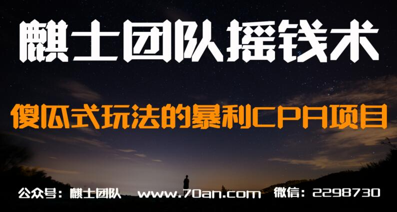 麒士团队摇钱术21:傻瓜式玩法的暴利CPA项目【视频课程】