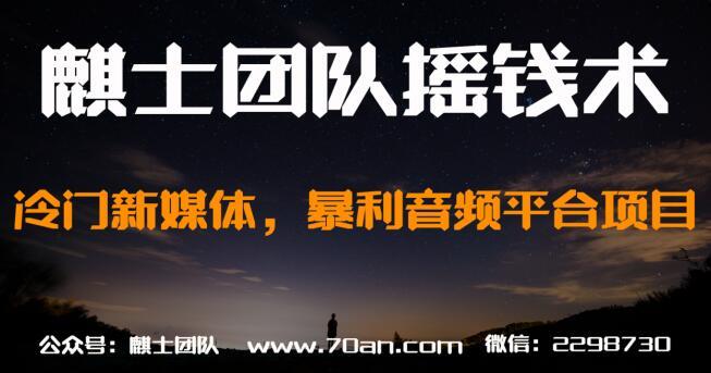 麒士团队摇钱术22:冷门新媒体,暴利音频平台项目【视频课程】