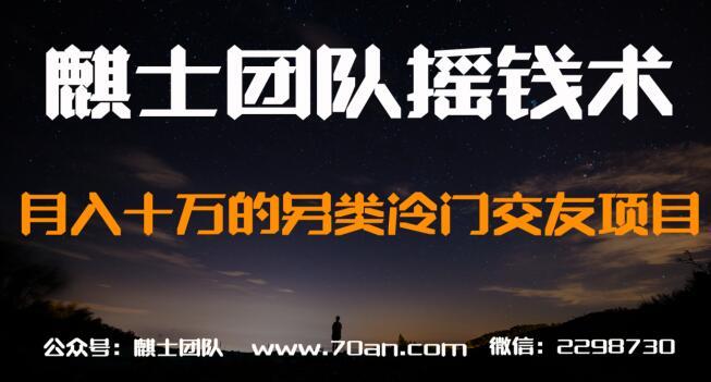 麒士团队摇钱术23:月入十万的另类冷门交友项目【视频课程】