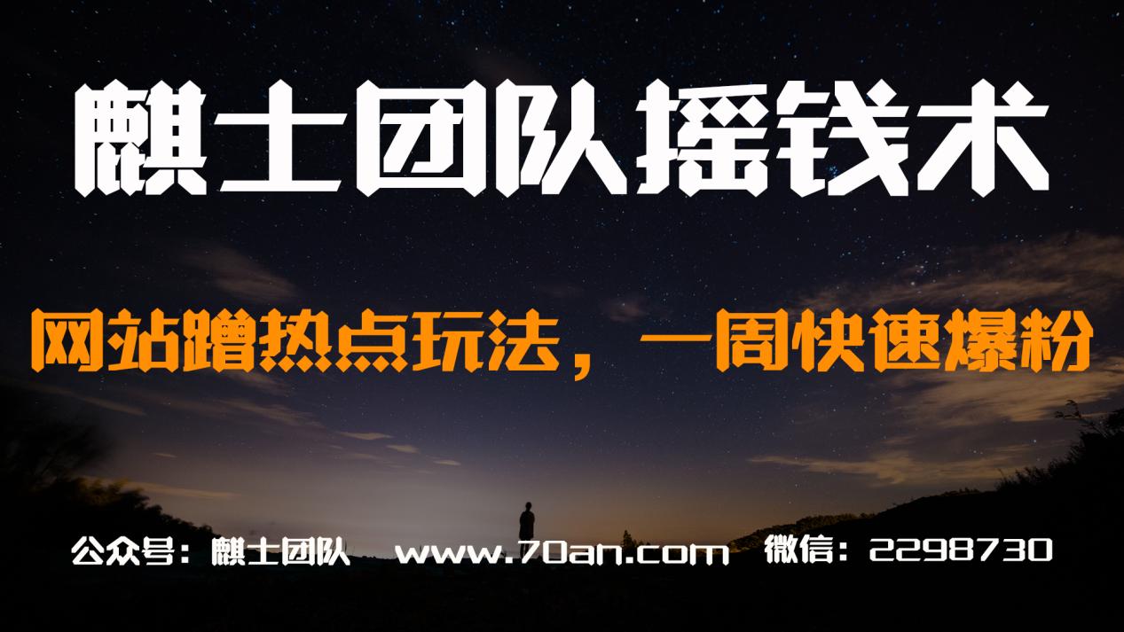 麒士团队摇钱术15:网站蹭热点玩法,一周快速爆粉【视频课程】
