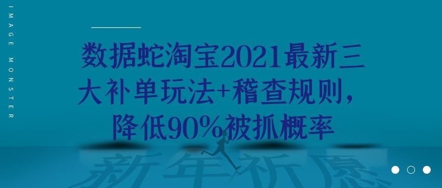 数据蛇淘宝2021最新三大补单玩法 稽查规则,降低90%被抓概率